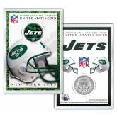 NEW YORK JETS Field NFL Colorized JFK Kennedy Half Dollar U.S. Coin w/4x6 Display
