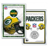 GREEN BAY PACKERS Field NFL Colorized JFK Kennedy Half Dollar U.S. Coin w/4x6 Display