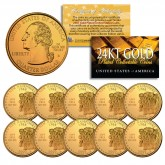 2000 New Hampshire State Quarters U.S. Mint BU Coins 24K GOLD PLATED (Quantity 10)