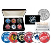NHL ORIGINAL SIX TEAMS Colorized JFK Half Dollars U.S. 6-Coin Set with Display Box - Officially Licensed