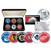 NHL ORIGINAL SIX TEAMS Royal Canadian Mint Medallions 6-Coin Set with Display Box - Officially Licensed
