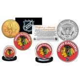 CHICAGO BLACKHAWKS Hockey NHL 2-Coin Set JFK Half Dollar & 24K Gold Plated State Quarter - Officially Licensed