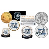 TAMPA BAY LIGHTNING Hockey NHL 2-Coin Set JFK Half Dollar & 24K Gold Plated State Quarter - Officially Licensed