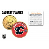 CALGARY FLAMES NHL Hockey 24K Gold Plated Canadian Quarter Colorized Coin - Officially Licensed