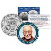 14th DALAI LAMA - 1989 NOBEL PEACE PRIZE - Colorized JFK Kennedy Half Dollar U.S. Coin