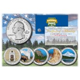 2010 America The Beautiful COLORIZED Quarters U.S. Parks 5-Coin Set with Capsules