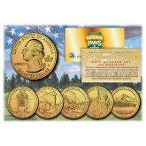 2010 America The Beautiful 24K GOLD PLATED Quarters U.S. Parks 5-Coin Set with Capsules