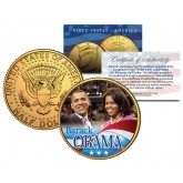 BARACK & MICHELE OBAMA 2008 JFK Kennedy Half Dollar U.S. Coin 24K Gold Plated