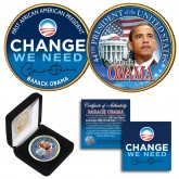 "BARACK OBAMA "" Change We Need "" 24K Gold Plated 2-Sided JFK Kennedy Half Dollar US Colorized Coin with Display Box"