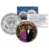 OBAMA CHRISTMAS - Colorized JFK Kennedy Half Dollar U.S. Coin - MICHELLE & BARACK