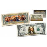 2-Sided Colorized Genuine Legal Tender U.S. $1 One-Dollar Bill - Declaration of Independence Reverse
