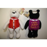 Pair of POPE JOHN PAUL II PLUSH BEARS each with Canonization 24K Gold State Quarter