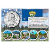 2011 America The Beautiful COLORIZED Quarters U.S. Parks 5-Coin Set with Capsules