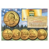 2011 America The Beautiful 24K GOLD PLATED Quarters U.S. Parks 5-Coin Set with Capsules