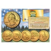 2014 America The Beautiful 24K GOLD PLATED Quarters U.S. Parks 5-Coin Set with Capsules