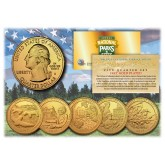 2017 America The Beautiful 24K GOLD PLATED Quarters U.S. Parks 5-Coin Set with Capsules