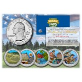 2017 America The Beautiful COLORIZED Quarters U.S. Parks 5-Coin Set with Capsules