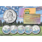 2016 America The Beautiful HOLOGRAM Quarters U.S. Parks 5-Coin Set with Capsules