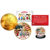 1976 PEANUTS Snoopy 24K Gold Plated IKE Dollar Coin * Betsy Ross Flag * Background