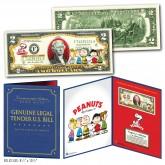 PEANUTS - Charlie Brown & Gang Genuine Legal Tender U.S. $2 Bill in Large Collectors Folio Display
