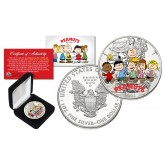 PEANUTS Charlie Brown Snoopy and All Characters 1 oz PURE 2003 American U.S. Silver Eagle with Box