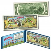 PEANUTS * BASEBALL * Officially Licensed U.S. Genuine Legal Tender U.S. $2 Bill with Certificate & Display Folio