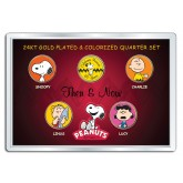 PEANUTS - Then & Now - CHARLIE BROWN - 24K Gold Plated US State Quarter 5-Coin Set w/4x6 - Officially Licensed