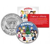 Peanuts Gang CHRISTMAS TREE CAROLERS JFK Half Dollar Coin CHARLIE BROWN & SNOOPY - Officially Licensed