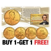 2009 Lincoln Bicentennial Penny 4-Coin Set 24K Gold Plated - BUY 1 AND GET 1 FREE - bogo