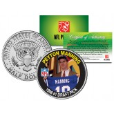 PEYTON MANNING - 1998 #1 Draft Pick - Colts NFL Colorized JFK Half Dollar US Coin - Officially Licensed