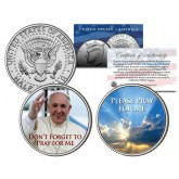 "POPE FRANCIS Papal USA Visit 2015 JFK Half Dollar US 2-Coin Set "" PLEASE DON'T FORGET TO PRAY FOR ME """
