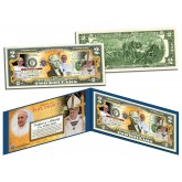 POPE FRANCIS - March 13, 2013 - Genuine Legal Tender U.S. Colorized $2 Bill