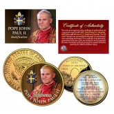 POPE JOHN PAUL II BEATIFICATION Missouri Quarter & JFK Half Dollar 2-Coin Set 24K Gold Plated
