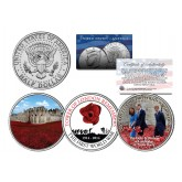 TOWER OF LONDON REMEMBERS THE FIRST WORLD WAR - Colorized JFK Kennedy Half Dollar U.S. 3-Coin Set