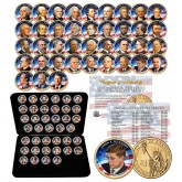 2007-2016 Complete Collection of U.S. PRESIDENTIAL DOLLARS - COLORIZED EDITION with Deluxe Leatherette Box (Complete Set of all 39 Coins)