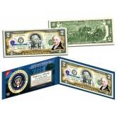 JOHN ADAMS * 2nd U.S. President * Colorized Presidential $2 Bill U.S. Genuine Legal Tender