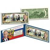 VLADIMIR PUTIN Colorized $2 Bill - Legal Tender U.S. Currency - President of Russia