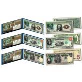 RAINBOW SERIES 1869 Designed NEW U.S. Bills - Genuine Legal Tender Modern U.S. $1, $2, & $5 Banknotes - Set of All 3