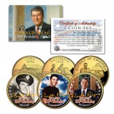 RONALD REAGAN - 100th Birthday - 24K Gold Plated U.S. Quarters 3-Coin Set - Life & Times
