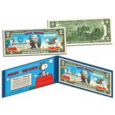 PEANUTS - SNOOPY vs. RED BARON - Legal Tender US $2 Bill - LICENSED - Charlie Brown