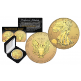 2016 American Silver Eagle Uncirculated 1 oz One Ounce U.S. Coin with Reverse Mirrored Imaging & Frosting Technology – 24KT GOLD EDITION (with BOX)