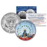 CONEY ISLAND WONDER WHEEL - Colorized JFK Kennedy Half Dollar U.S. Coin - BROOKLYN NY