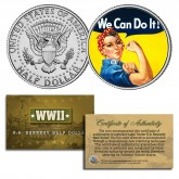 WE CAN DO IT Colorized JFK Half Dollar U.S. Coin ROSIE THE RIVETER Poster WWII