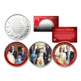 BRITISH ROYAL FAMILY Colorized Set of 3 Royal Canadian Mint Medallion Coins