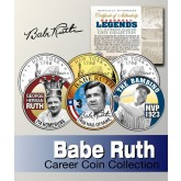 Baseball Legend BABE RUTH New York Statehood Quarters US Colorized 3-Coin Set - Officially Licensed
