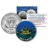 SEA TURTLE JFK Kennedy Half Dollar US Colorized Coin