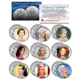 SEX SYMBOLS of the 1950's - Colorized JFK Half Dollar U.S. 9-Coin Set