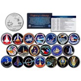 SPACE SHUTTLE PROGRAM MAJOR EVENTS - Colorized Florida Quarters US 20-Coin Set - NASA