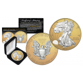 2016 American Silver Eagle Uncirculated 1 oz One Ounce U.S. Coin * Mixed-Metals Select Matte Imaging * .999 FINE SILVER GILDED EDITION with 24K Gold Matte Backdrop (with BOX)