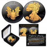 Black RUTHENIUM 1 oz .999 Fine Silver 2019 American Eagle U.S. Coin with 2-Sided 24K Gold clad and Deluxe Felt Display Box